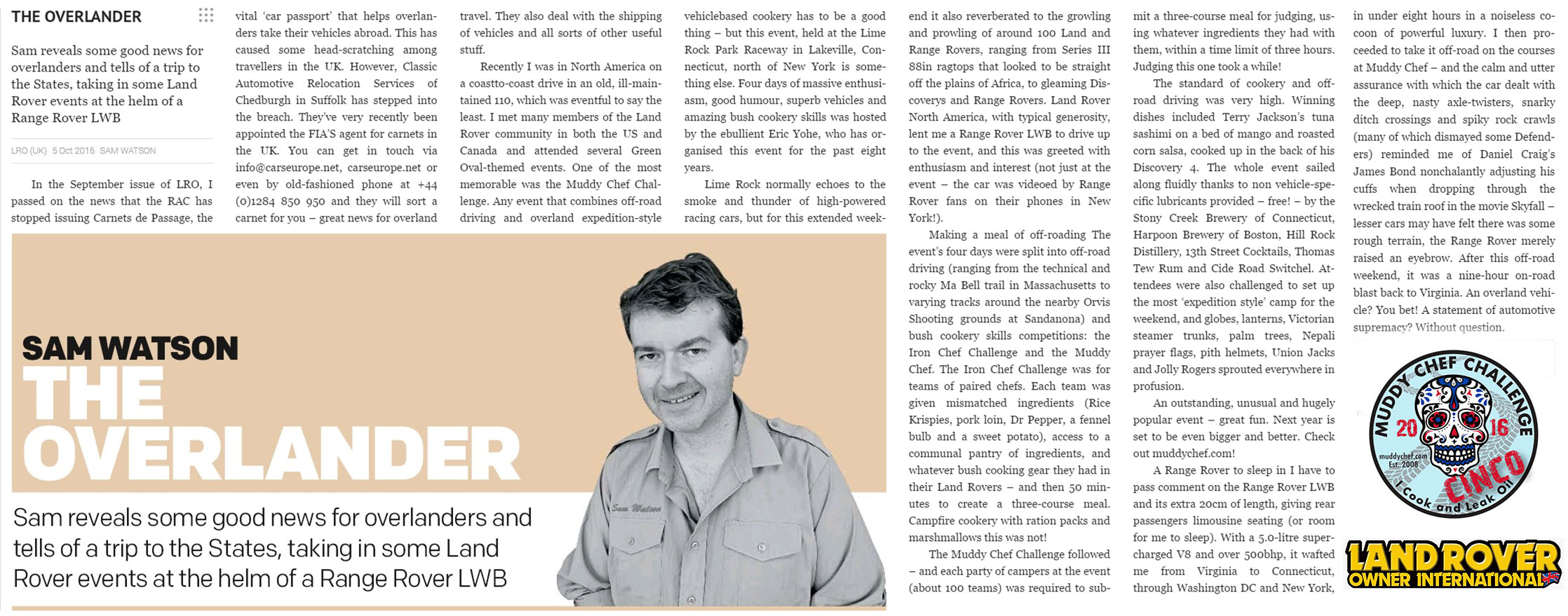 Sam Watson article from Land Rover Owner International