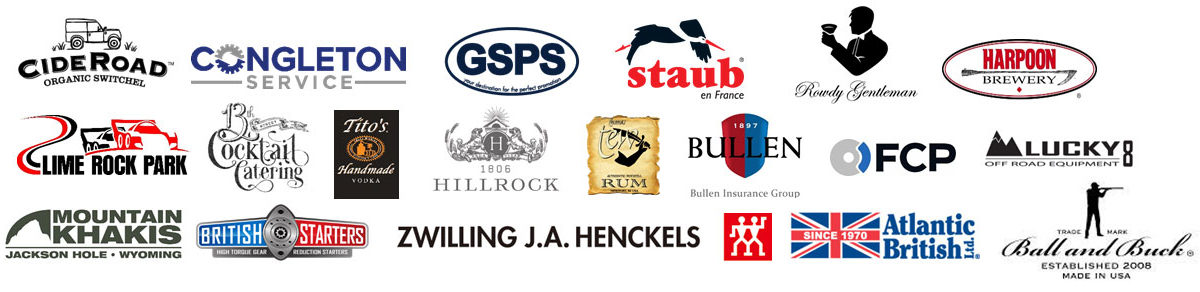 List of sponsors for the Land Rover Muddy Chef Challenge